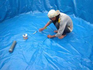 Pemasangan kolam terpal bulat